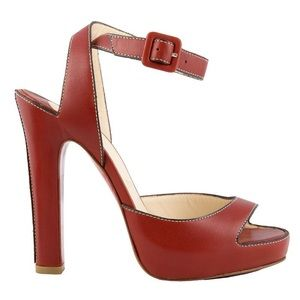 Louboutin Red platform strappy sandals 36.5